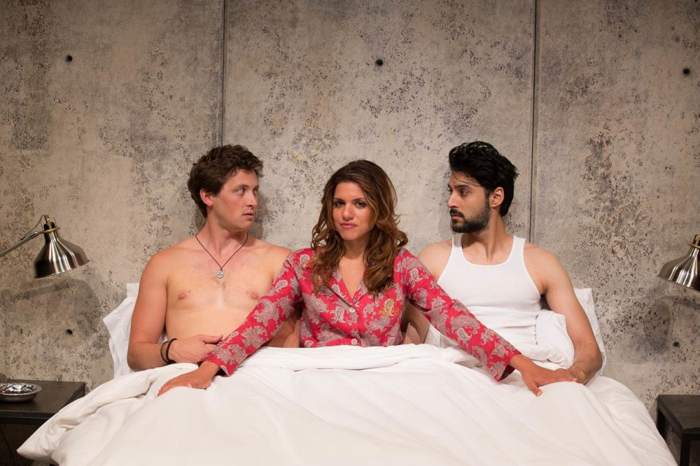 Photo credit: John Cornicello. L-R: Quinn Franzen as Doug, Alia Attallah as Leila and Karan Oberoi as Rashid.